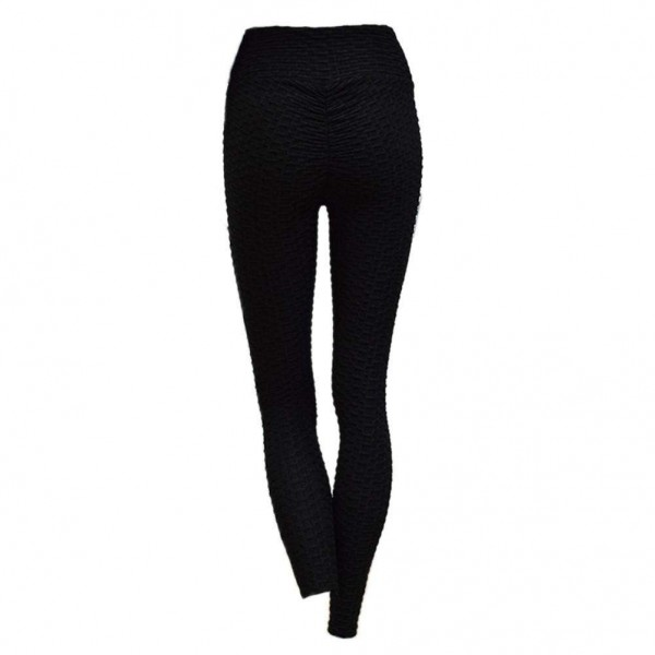 Sports Leggings Elastic Slim Hip Push Up Pleated Pants(Black S)