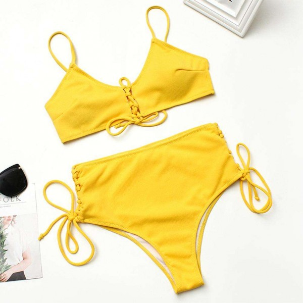 Charming Bikini Set Summer Solid Color Padded Textured Beach Swimsuit